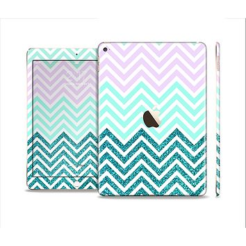 The Light Teal & Purple Sharp Glitter Print Chevron Skin Set for the Apple iPad Air 2