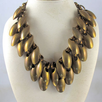 Vintage Bronze Seed Pods Bib Necklace, Huge Double Row Statement Dangle Necklace Collar, Designer Mid Century Modern Statement Jewelry