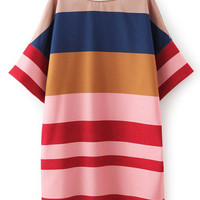 Striped Bat Sleeve Dress
