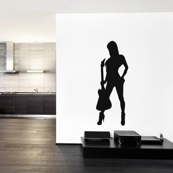 ik822 Wall Decal Sticker girl playing bass guitar music song heavy metal teens