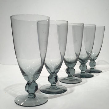 bjorkshult cocktail glasses with knob stem set of 5 vintage swedish blue glass wine goblets