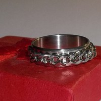 Men's  Biker Rocker Goth Spinning Chain Stainless Steel 6mm Band Ring (Sz 11US)