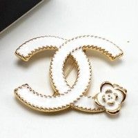 Chanel Women Fashion CC Logo Flower Plated Brooch