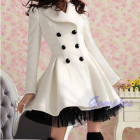 Fashion Women Slim Wool Blend Double Breasted Trench Warm Coat Dress Long Jacket