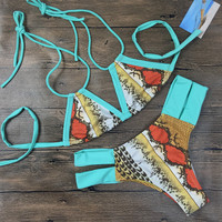 Women Print Beach Swimwear Bandage Bikini Set