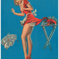 Red Lobster Waitress Pin-Up Girl Poster 11x17