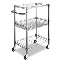 3-Tier Metal Kitchen Cart / Utility Cart with Adjustable Shelves and Casters