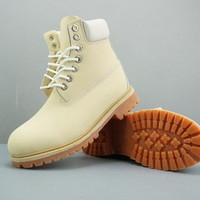 Timberland Leather Lace-Up Boot High Beige White - Best Deal Online