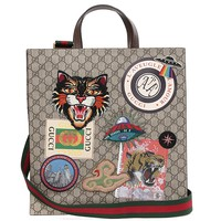 Wiberlux Gucci Unisex Multiple Patch Detail Striped Strap Tote Bag