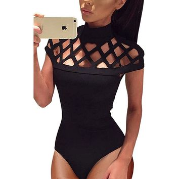 Women's Sexy Black Cage Short Sleeve Bodysuit Leotard