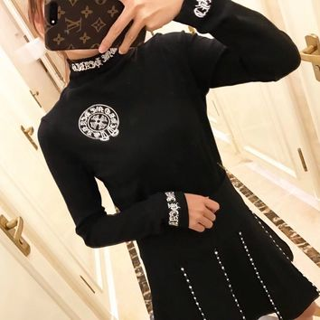 """""""Chrome Hearts"""" Women All-match Fashion Letter Print Long Sleeve Turtleneck T-shirt Bottoming Tops"""