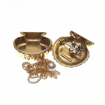 Vintage Clam Shell Faux Pearl Earrings Pendant Necklace Brooch Pin Jewelry Box