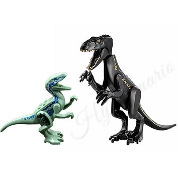 2Pcs Jurassic World 2 Park Dinosaur Indoraptor Velociraptor Blue Building Block Bricks Toys Compatible with Lego Dinosaurs 75930
