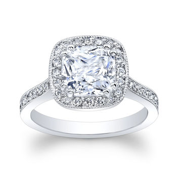 Ladies Platinum vintage engagement ring w/2ct Cushion Cut white sapphire Ctr 0.50 ctw G VS2 diamonds