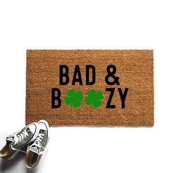 Funny Bad and Boozy St. Patrick's Day Doormat