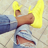 """Adidas"" Fashion Shell-toe Flats Sneakers Sport Shoes Pure color Yellow"