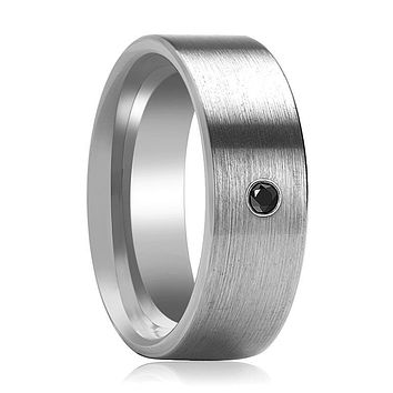AARYA Silver Brushed Flat Tungsten Wedding Band for Men with Black Diamond in Center - 6MM - 8MM