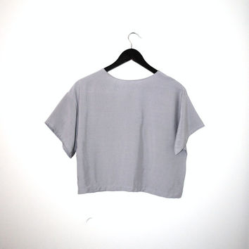 minimalist boxy grey RAYON shirt handmade DOVE grey simple cropped T-shirt