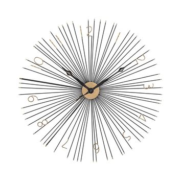 Shockfront Black and Gold 36-Inch Metal Wall Clock Gold,Black