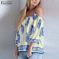 ZANZEA 2017 New Fashion Summer Women Sexy Blouses Casual Loose Blusas Vintage Print Tops Off Shoulder Shirts Plus Size S-3XL