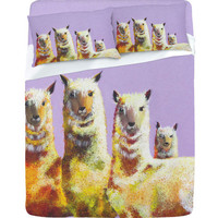 DENY Designs Home Accessories | Clara Nilles Lemon Llamas On Lavender Sheet Set
