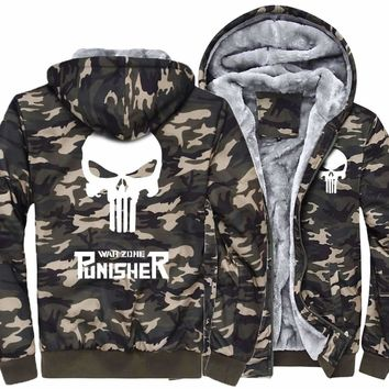 2017 thick jacket men funny hoodies homme skull tracksuit fleece the punisher Army Ggreen Camouflage casual brand sweatshirt pp