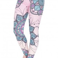Mandala Flower Silm High Waist Leggings