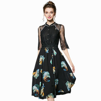 Lace Pieced Floral Printed Midi Dress Summer 2017 Plus Size Women Long Party Dresses l to 4xl 5xl