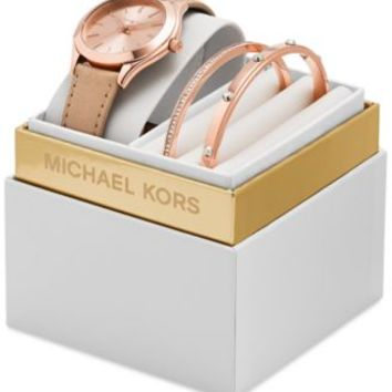 Michael Kors Women's Mini Darci Rose Gold-Tone Stainless Steel Bracelet Watch Gift Set 33mm MK3431 | macys.com