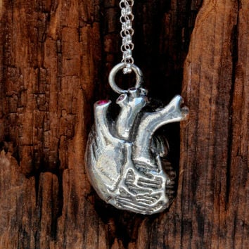 Ruby Set Anatomical Heart Necklace  in .925 Sterling Silver on a sterling silver chain, Made in NYC