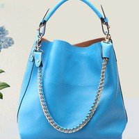 Chic Metal Chain Blue Leather Large Tote. Fashionable Shopper Bag