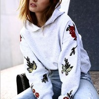 Cotton Grey Print Long Sleeve Hoodies [11856498191]