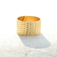 24k Gold Plated Ring, Unisex Ring, Gold Ring, Wide Band Ring, Knuckle ring, Wide ring,