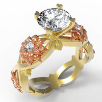 Forever one moissanite engagement ring Solid 18K Yellow and Rose Gold