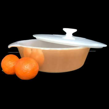Vintage Fire King Casserole with Lid Peach Lustre Glass Bakeware Vintage Kitchen Covered Casserole 1 1/2 Quart Size Anchor Hocking