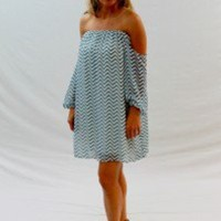 Blue Strapless Zig-Zag Print Tube Top Dress - Always a Runway Clothing