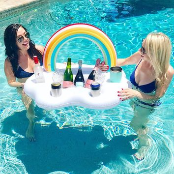 Ice Bucket Rainbow Cloud Cup Holder Inflatable Pool Float Cooler Table Drink Food Tray Party Toys Boia Piscina Swimming Mattress