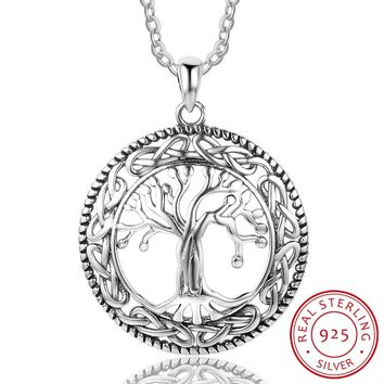 925 Sterling Silver Tree of Life Pendants & Necklace For Women 26mm Pendants Silver Jewelry Gift For Mom(NE101908)