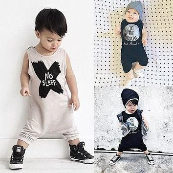 New Baby Girls Boys Romper Sleeveless No Sleep Print Cotton Baby Jumpsuits Baby Clothes