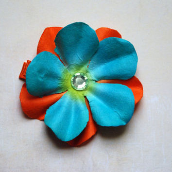 Blue and Orange Tropical Paper Flower Hair Clip with Gem