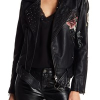 BLANKNYC | Studded Floral Faux Leather Moto Jacket | Nordstrom Rack