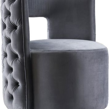 Theo Grey Velvet Accent Chair