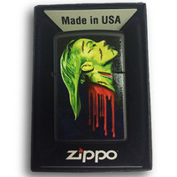Zippo Custom Lighter - Zombie Girl Dripping Blood - Regular Black Matte 218-CI404190