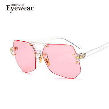 Women Rimless Piece Lens Transparent Glasses Men Style Sunglasses Clear Color Brand Designer K97301