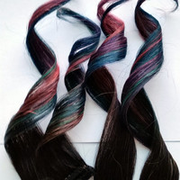 Mermaid Passion #1B 100% human hair extensions Rose Pink Teal Purple Blue Green Clip In Ombre