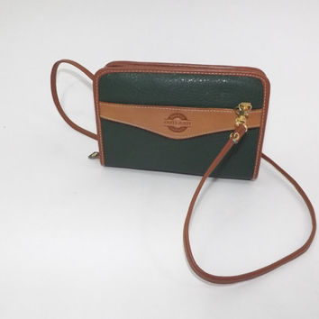 Vintage 1980s 90s Rugged Outland Leather Cross Body Purse Green Tan Bag Boho Rustic Bag Festival Preppy Classic Purse Small Concert Purse