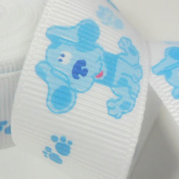 "Grosgrain Ribbon Blues Clues 7/8"" Ribbon Nick Jr Blue Puppy - 5 Yrds"