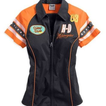 Harley-Davidson® Women's Cruiser Girls Zip Front Woven Shirt 96181-14VW
