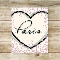 Paris Print - Instant Download - Printable Wall Art Travel Poster- 8x10 - Love Paris - Purple Confetti and Heart Typography