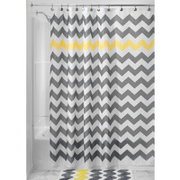 "Modern Wave Chevron Fabric Shower Curtain (72"" x 72"") with Matching Bath Rug"